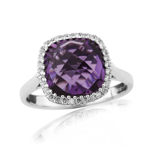 Cushion Cut Amethyst And Diamond White Gold Cluster Ring